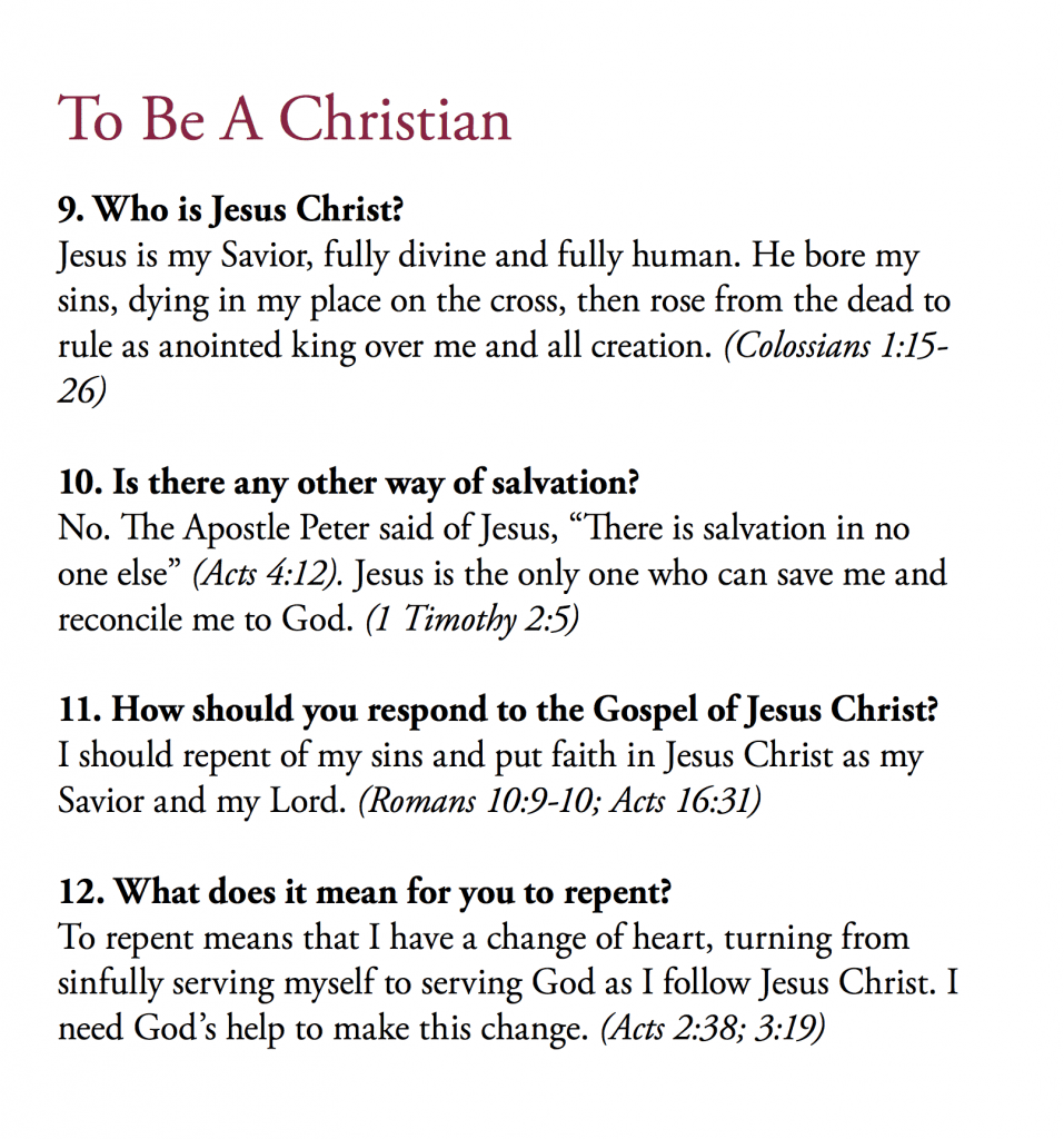 The inside page of our bulletin showing the questions, answers, and Scriptures I preached from.