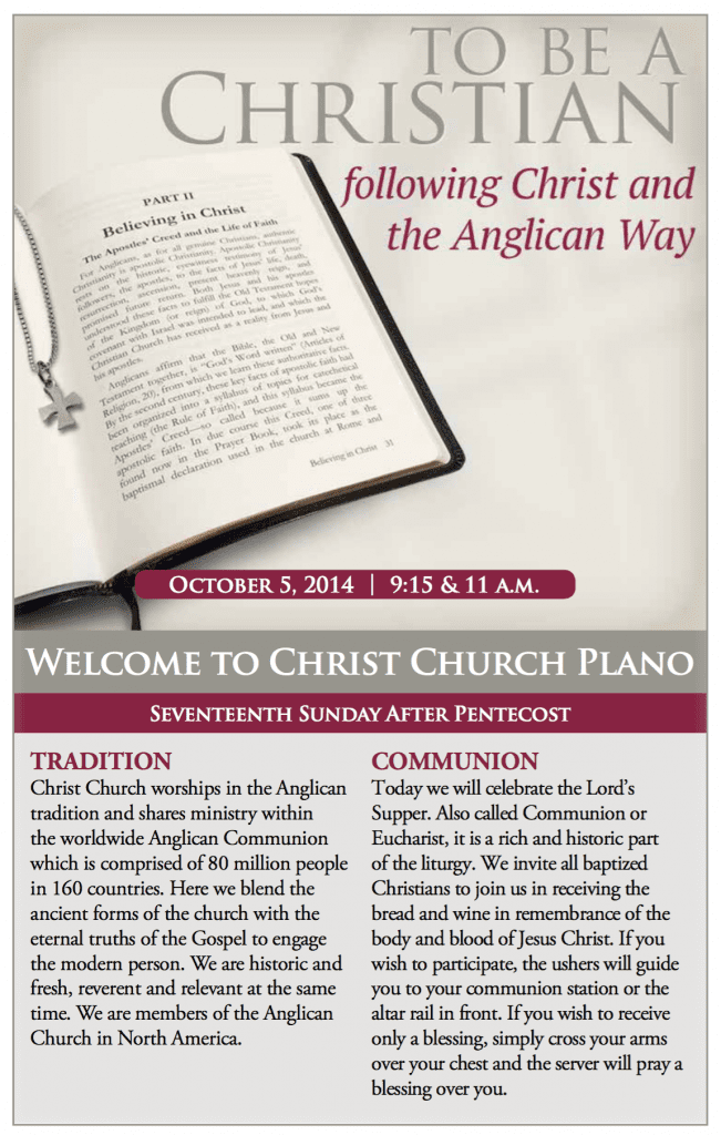Our Sunday Bulletin from last Fall