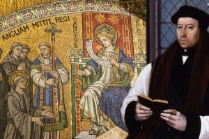 Catholic Pope Gregory commissions Augustine in A.D. 596 as Thomas Cranmer looks on with that distinctive Reformed gaze.