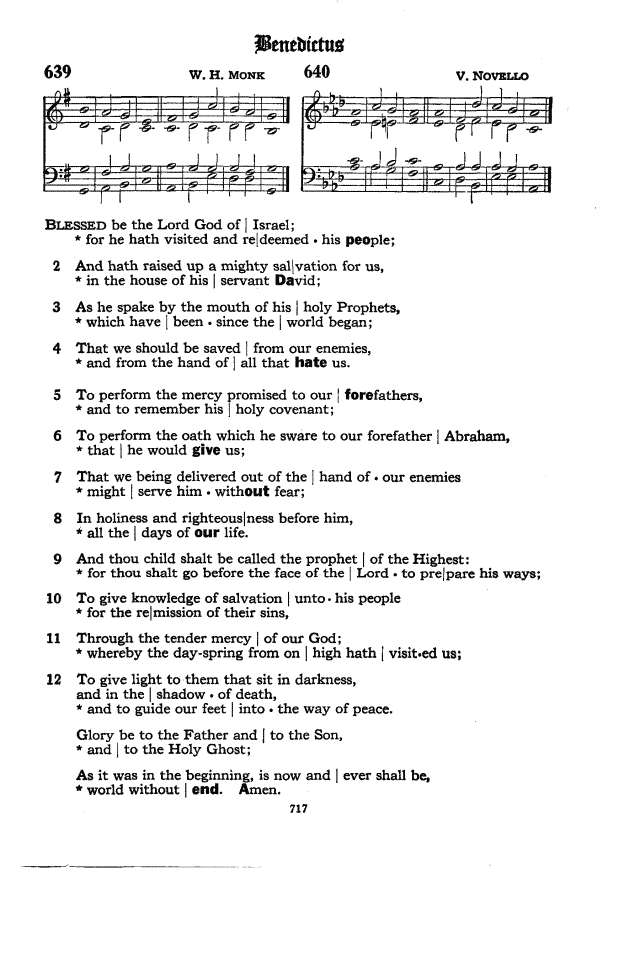 Benedictus, from the 1940 Episcopal Hymnal.