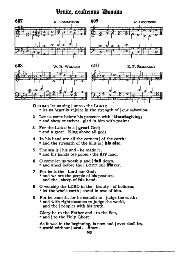 Venite page scan from the 1940 Episcopal Hymnal.