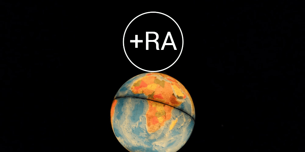 RA Logo on top of globe