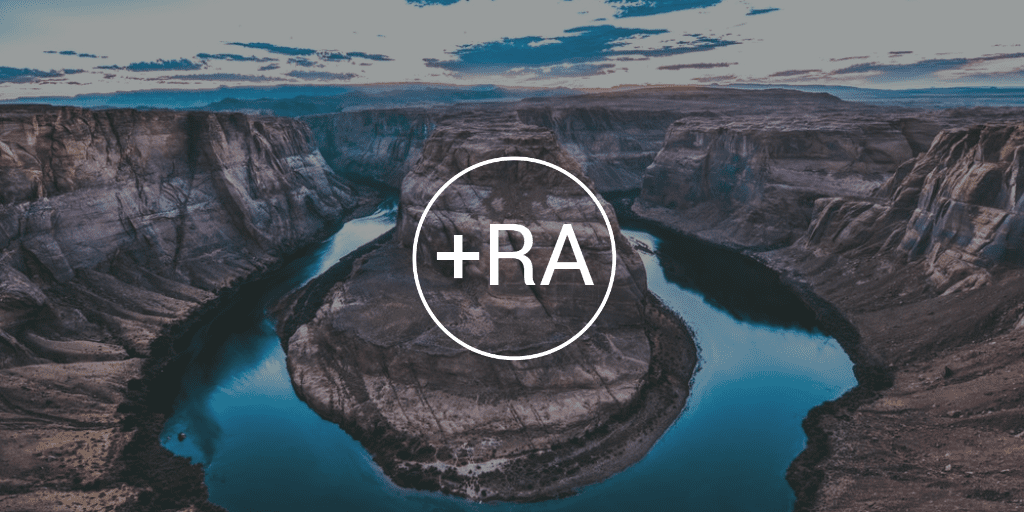 Horseshoe bend photograph with RA logo