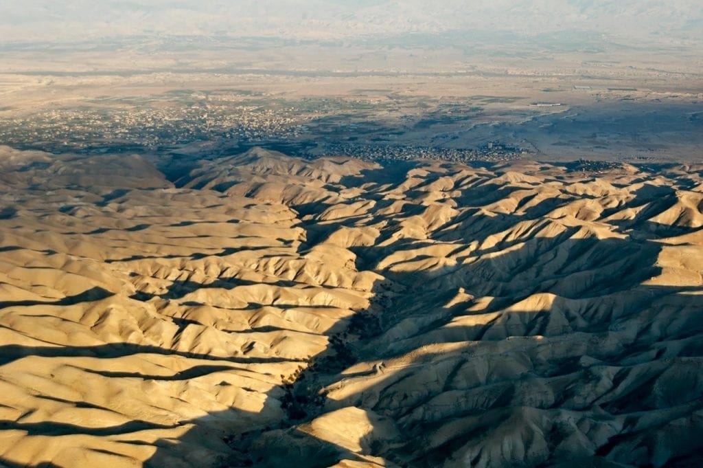 Photo: Wadi Qilt aerial from west. Courtesy of the Pictorial Library of Bible Lands.